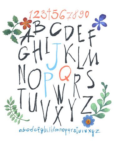 水彩花ベクター手書きアルファベットの描かれたアルファベットと数字の手  イラスト・ベクター素材