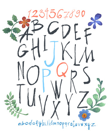 alphabet and numbers hand drawn in vector  Handwritten alphabet with watercolor flowers