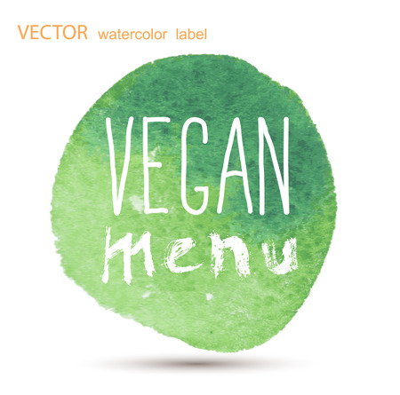rindfleisch roh: Raw vegan Abzeichen. Vektor handgezeichneten Etiketten. Kalligraphie-Aquarell Illustration