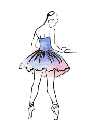 ballet niñas: Figura de la bailarina de dibujo vectorial mano, ejemplo de la acuarela