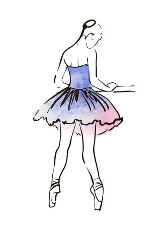 tanzen cartoon: Vektor Handzeichnung Ballerina Figur, Aquarellillustration