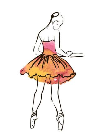 Vector hand drawing ballerina figure, watercolor illustration