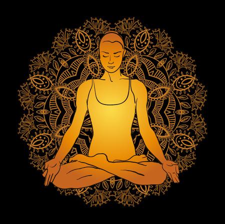 ベクトル イラスト美人ヨガ瞑想を行う