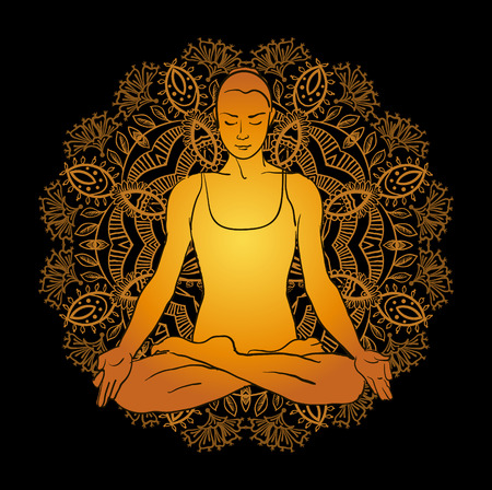 Vector illustration beautiful woman doing yoga meditation