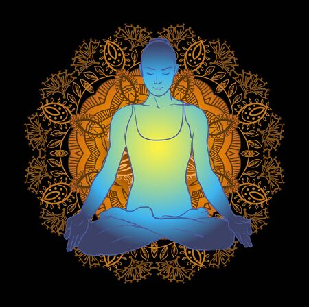 nirvana: Vector illustration beautiful woman doing yoga meditation