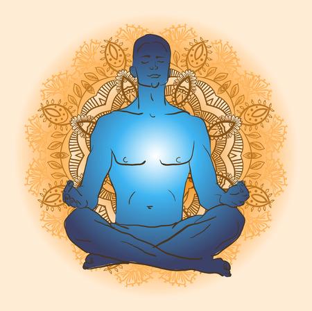 illustrazione uomo: Illustrazione vettoriale uomo seduto nella posizione del loto facendo meditazione yoga Vettoriali