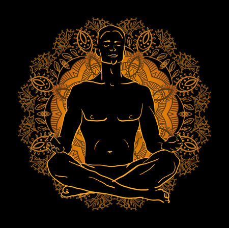 man meditating: Vector illustration man sitting in the lotus position doing yoga meditation
