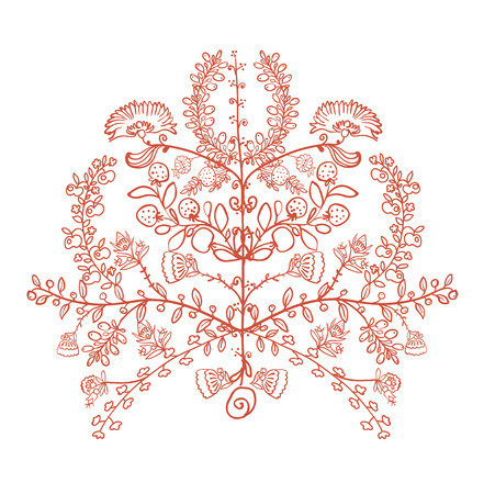 end of the world: vector illustration Ukrainian traditional symbol  the tree of life