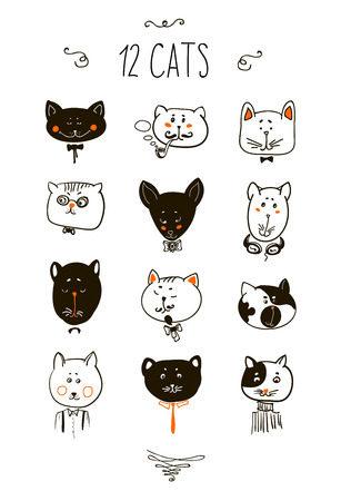 Set of cats heads. Face kitten, whiskers and ears, muzzle and wool. Vector illustration 向量圖像