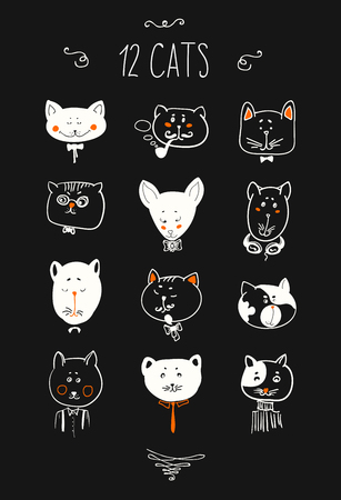 whiskers: Set of cats heads. Face kitten, whiskers and ears, muzzle and wool. Vector illustration Illustration