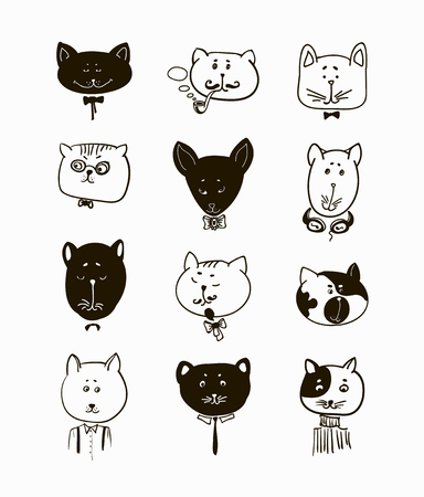 muzzle: Set of cats heads. Face kitten, whiskers and ears, muzzle and wool. Vector illustration Illustration