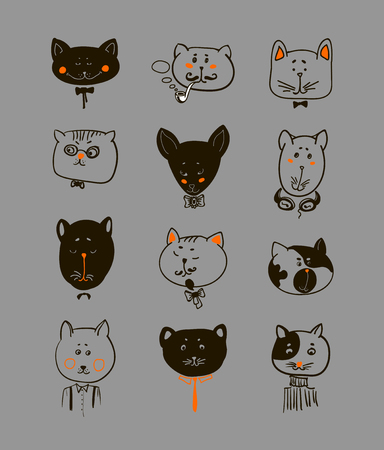 Set of cats heads. Face kitten, whiskers and ears, muzzle and wool. Vector illustration Illustration
