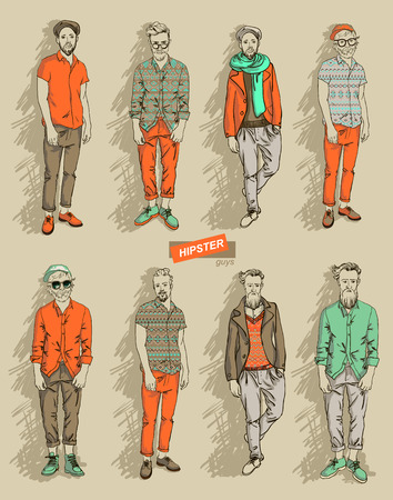 shaved head: man in fashion clothes isolated on light background set vector illustration