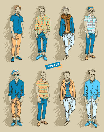 man in fashion clothes isolated on light background set vector illustration