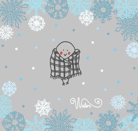 bullfinch: Funny birds bullfinch on winter background snowflakes. Vector illustration Illustration