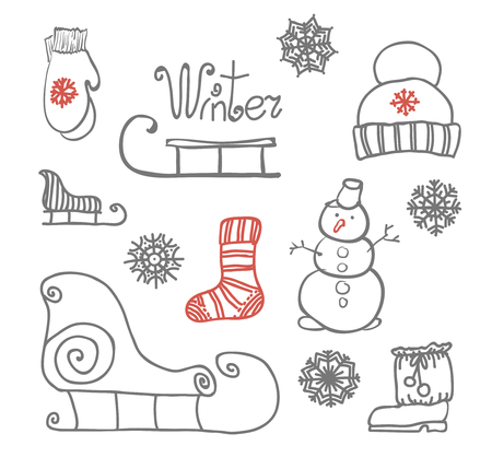freehand drawing: Freehand drawing Winter holiday. Vector illustration. Set