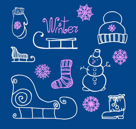 winter holiday: Freehand drawing Winter holiday. Vector illustration. Set
