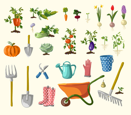 vegetables on white: A vector set of whimsical retro gardening theme clip arts