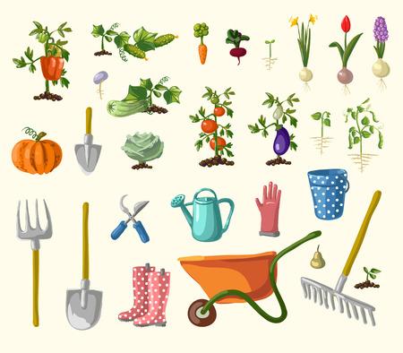 gardening  equipment: A vector set of whimsical retro gardening theme clip arts