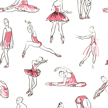 actress girl: vector sketch of girls ballerina standing in a pose seamless pattern
