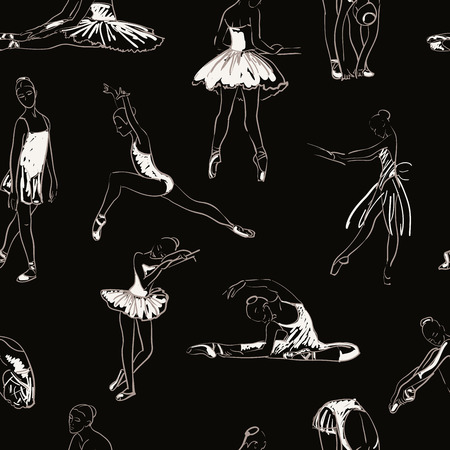 vector sketch of girls ballerina standing in a pose seamless pattern