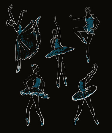 vector sketch of girls ballerinas standing in a pose set  イラスト・ベクター素材