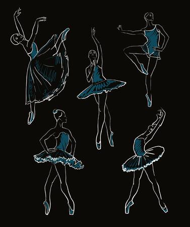 vector sketch of girls ballerinas standing in a pose set Stock Illustratie