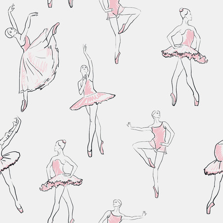 actresses: vector sketch of girls ballerina standing in a pose seamless pattern