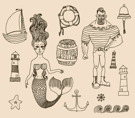 Hand drawn sea icons cartoon set with sailor, lighthouse, mermaid, ship and other. Illustration