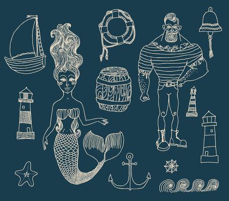 marinero: Dibujado a mano iconos de mar de dibujos animados conjunto con marinero, faro, sirena, barco y otros. Vectores