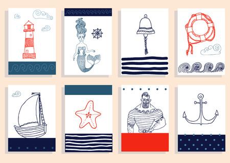 robust: Hand drawn sea icons cartoon set with sailor, lighthouse, mermaid, ship and other. Illustration