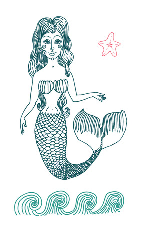 seamaid: Vector graphic drawing  fairy Mermaid with long curly hair. Illustration