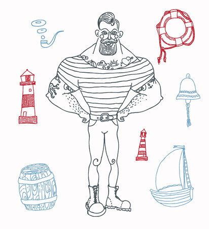 anchor man: Hand drawn set portrait of bearded and tattooed sailor Illustration