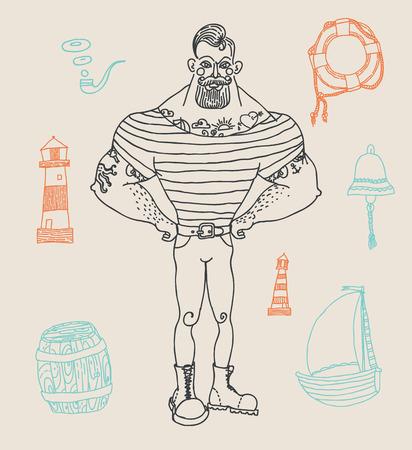 tattooed: Hand drawn set portrait of bearded and tattooed sailor Illustration