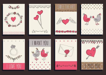 sticker design: Vintage frames and hand-drawn Love decorative elements set Illustration