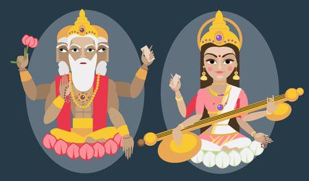 vector illustration lord Brahma and Sarasvati devi Traditional Hindu deitys