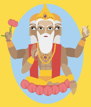 vector illustration lord Brahma Traditional Hindu deity Vektoros illusztráció