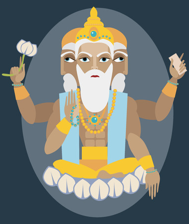 deity: vector illustration lord Brahma Traditional Hindu deity Illustration