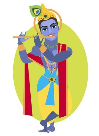 deity: vector illustration lord Vishnu Krishna Traditional Hindu deity Illustration