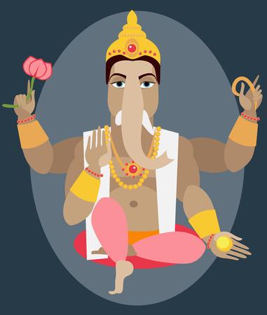 deity: illustration statue of Lord Ganesha  Traditional Hindu deity Illustration