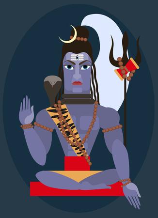 vector illustration lord Shiva Traditional Hindu deity