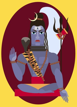 deity: vector illustration lord Shiva Traditional Hindu deity Illustration
