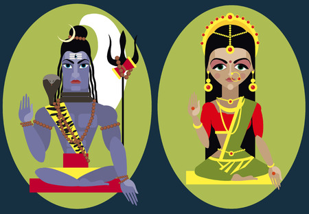 india culture: vector illustration lord Shiva and mata Parvati Traditional Hindu deity