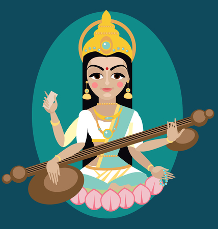 vector illustration Sarasvati devi Traditional Hindu deity Vektoros illusztráció