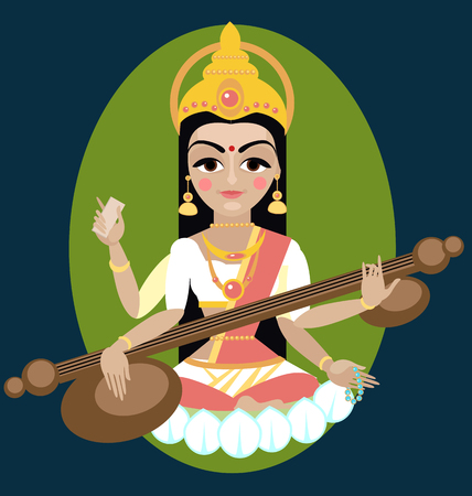 vector illustration Sarasvati devi Traditional Hindu deity