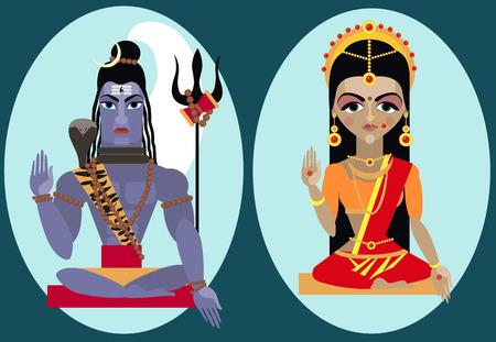 deity: vector illustration lord Shiva and mata Parvati Traditional Hindu deity
