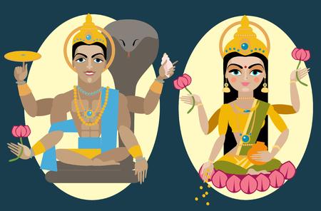 deity: vector illustration lord Vishnu and mata Lakshmi Traditional Hindu deity Illustration