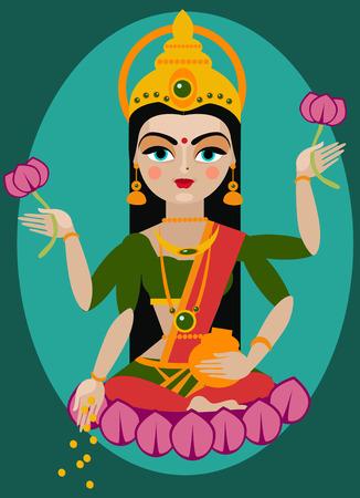 vector illustration mata Lakshmi Traditional Hindu deity