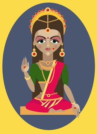 devi: vector illustrationmata devi Parvati Traditional Hindu deity