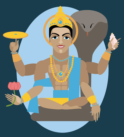vishnu: vector illustration lord Vishnu Traditional Hindu deity